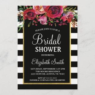 Black Stripe Floral Bridal Shower Invitation