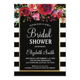 Black Stripe Floral Bridal Shower Invitations
