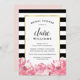 Black Stripe & Pink Peony Bridal Shower Invitation
