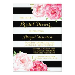 Black Stripe Pink Watercolor Flowers Bridal Shower Invitation