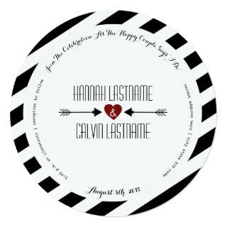 Black Stripes Red Heart + Arrows Round Wedding Invitations