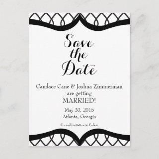 Black Tie Affair Save the Date Announcement Postcard