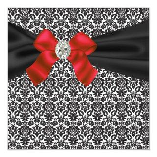 Black Tie Party Red Black Damask Party Invitations