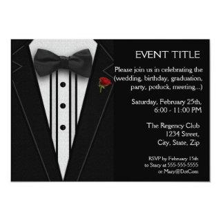 Black Tuxedo with Bow Tie Red Rose Invitation