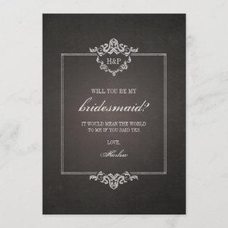 Black Weathered Gothic Will You Be My Bridesmaid
