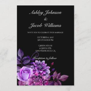 Black wedding invitation. Purple flowers invite