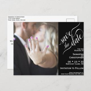 Black Wedding Save the Date Calligraphy & Photo Announcement Postcard