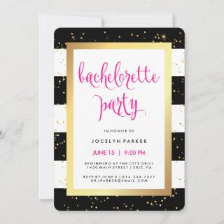 Black White and Faux Gold Bachelorette Party Invitations