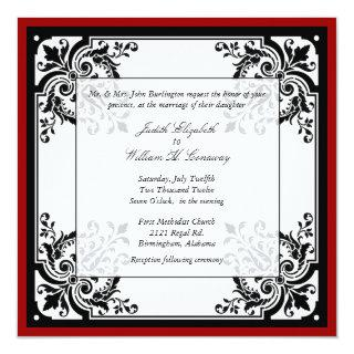 Black, White, and Red Baroque Wedding Invitations