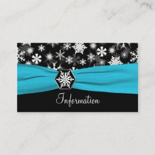 Black, White, Aqua Snowflakes Information card