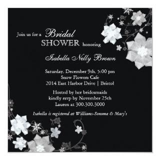 Black & White Bling Winter Bridal Shower Invitation