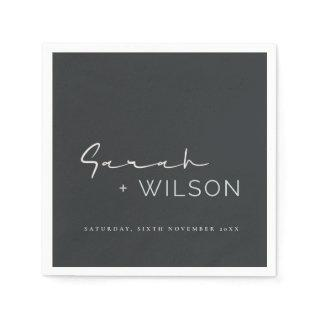 BLACK WHITE BLUSH CALLIGRAPHY FONT CUSTOM WEDDING  NAPKINS