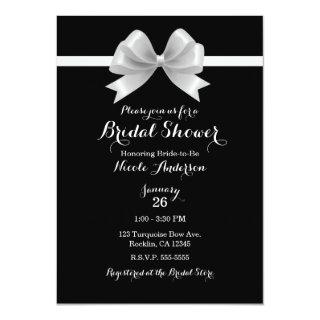 Black & White Bow Classy Elegant Bridal Shower Invitations