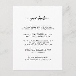 Black & White Calligraphy Guest Details Card