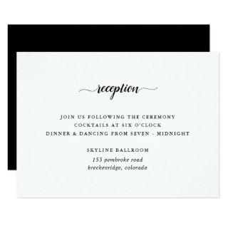 Black & White Calligraphy Reception Card
