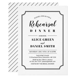 Black & White | Classic Wedding Rehearsal Dinner Invitations