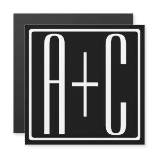 Black & White   Couples Initials Magnetic