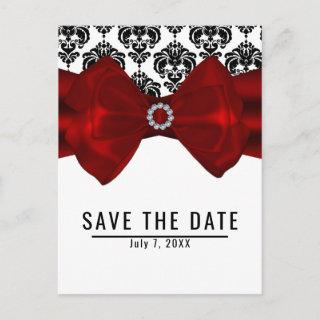 Black & White Damask Red Bow Glam Save the Date Announcement Postcard