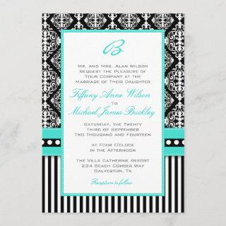 Black white damask turquoise wedding Invitations