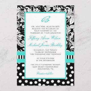 Black white damask turquoise wedding invitation