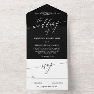 Black White Delicate Calligraphy Wedding All In One