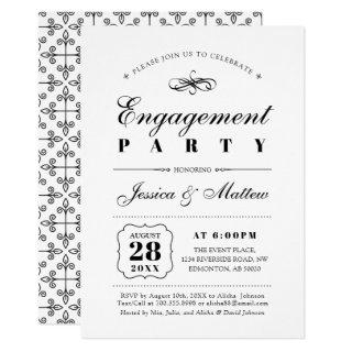 Black & White Elegant Classic Engagement Party Invitations