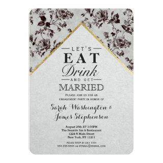 Black & White Floral & Gold Trim Recycled Paper Invitations