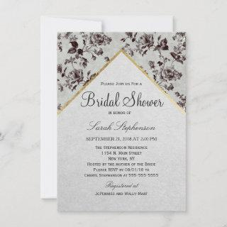 Black & White Floral & Gold Trim Recycled Paper Invitation