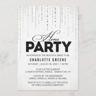 Black & White Glitter Look Hens Party Invitations