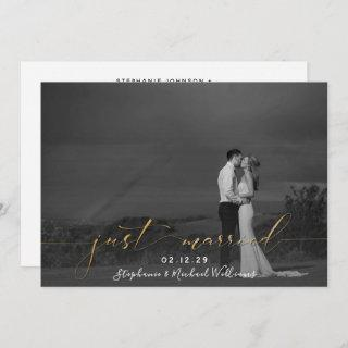 Black White Gold Calligraphy Just Married Photo Invitations
