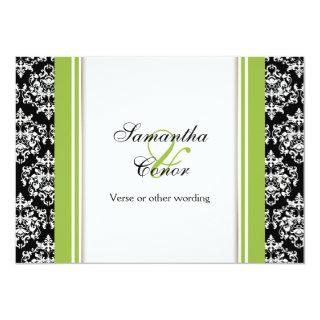 Black white green damask wedding engagement invitation