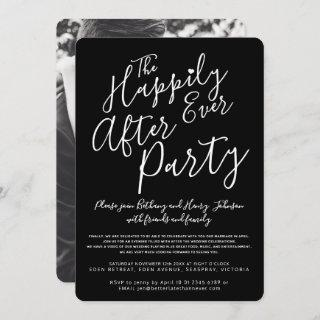 Black white happily ever after wedding party