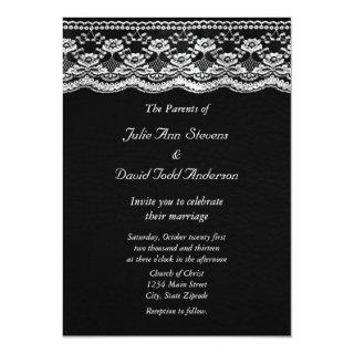 Black & White Leather & Lace Wedding Invitations
