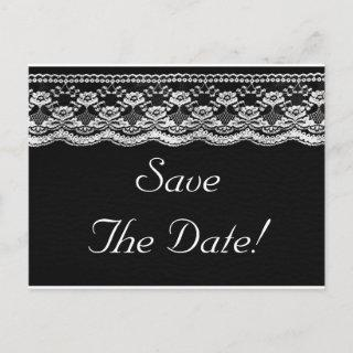 Black & White Leather & Lace Wedding Save The Date Announcement Postcard