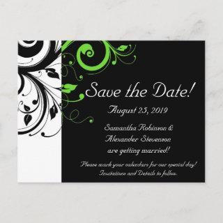 Black/White/Lime Green Bold Swirl Save the Date Announcement Postcard