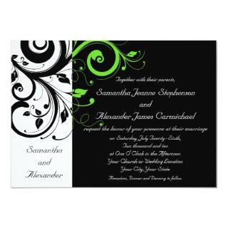 Black/White/Lime Green Bold Swirl Wedding Invitations