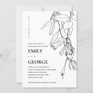 BLACK WHITE LINE DRAWING FLORAL ENGAGEMENT INVITE
