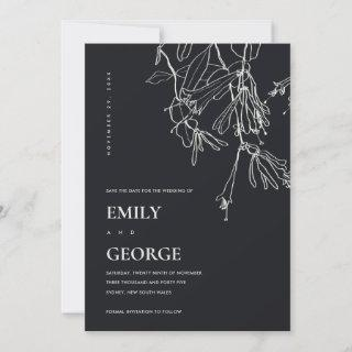 BLACK WHITE LINE DRAWING FLORAL SAVE THE DATE CARD