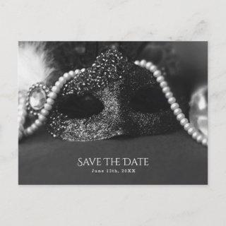 Black & White Masquerade Mask Pearls Save the Date Announcement Postcard