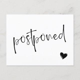 Black & White Minimalist Postponed Wedding Announcement Postcard