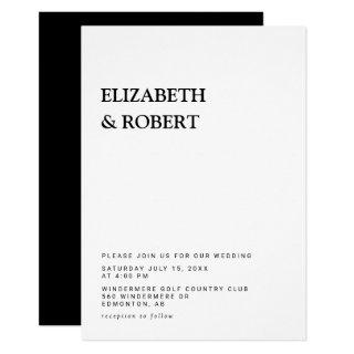 Black & white Minimalist Simple Modern wedding Invitation