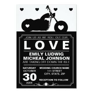 Black & White Motorcycle Biker Silhouette Wedding Invitations
