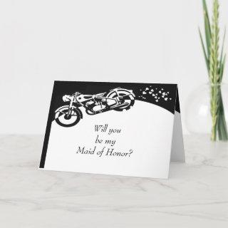 Black White Motorcycle Custom Maid of Honor Invite