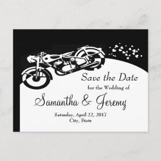 Black White Motorcycle Custom Wedding Save  Date Announcement Postcard