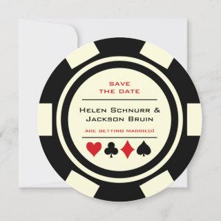 Black White Poker Chip Las Vegas Save The Date
