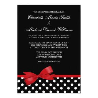 Black White Polka Dot Red Faux Bow Wedding Invitations