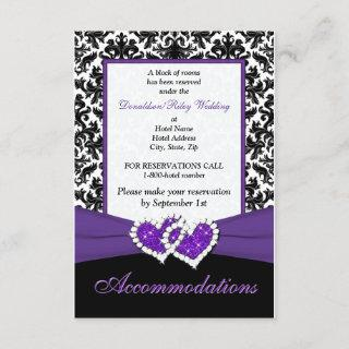 Black White Purple Damask Hearts Enclosure Card