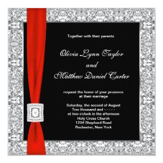 Black White Red Bow Wedding Invitation
