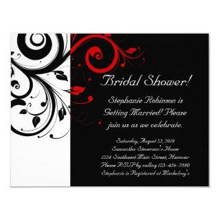 Black, White, Red Swirl Bridal Shower / General Invitations
