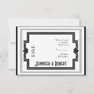 Black White Silver Art Deco Frame Response Card